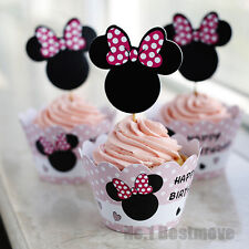 24Pcs Minnie Mouse Paper Cupcake Wrappers & Toppers For Kids Birthday Party
