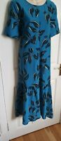 LADIES M&S AUTOGRAPH BLUE MIX LEAF PRINT MIDI RELAXED DRESS SIZE UK 18 BNWT
