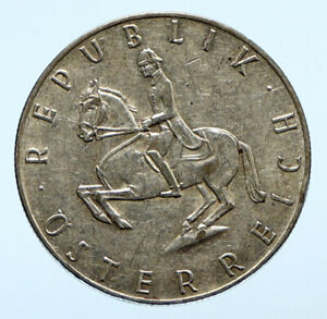 1962 AUSTRIA Spanish HORSE RIDER Genuine Silver 5 Shilling Austrian Coin i96462
