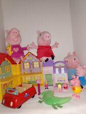 Peppa Pig toy lot House, bakery, Car, Figures, talking plush