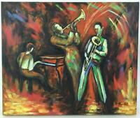 """Loren Barton Jazz In Red Abstract Oil On Canvas Signed Art Painting 20x24"""""""