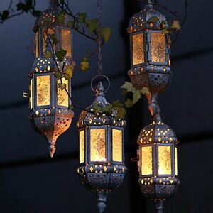 Vintage Metal Moroccan Temple Tower Candle Holder Hanging Lantern Garden Decor
