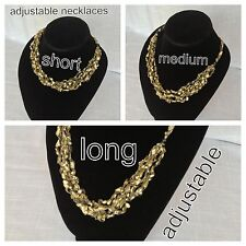 Adjustable Gold Crochet Yarn Necklace Handmade ladder ribbon trellis handmade