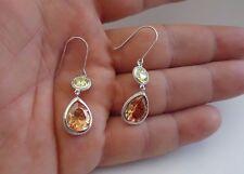 Earrings W/ 14 Ct Lab Diamond 925 Sterling Silver Multi-Color Teardrop Dangling