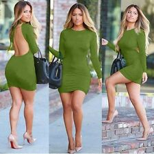 Sexy Bodycon Long sleeve Cocktail Party Open Back Pencil Slim Mini Dress BD213