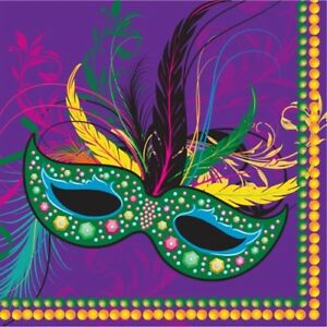 Mardi Gras Masks Beverage Napkins Paper 16 pack Mardi Gras Tableware Supplies