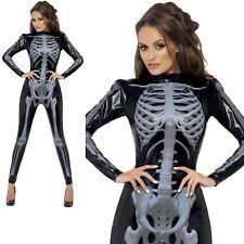 Fever Skeleton Bodysuit Ladies Skeletons Halloween Fancy Dress Costume UK 8-18