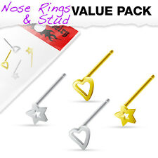 4 Pcs Value Pack of Assorted .925 Sterling Silver Gold IP 3mm Bendable Nose Ring