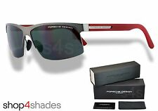 Porsche Design Titanium Semi Rimless Sunglasses GUNMETAL_RED_GREY P8561A V599