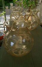 4 GLOBES OPALINE LUMINAIRE LAMPE APPLIQUE ART DÉCO haut 16 cm Couleur miel gravé