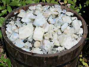 1/2 lb Bulk Lot Natural Rough Rainbow Moonstone Crystals (Raw Reiki Rocks 8 oz)