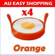 4 x Orange Silicone Non Stick baking Kitchen pancake Egg Rings