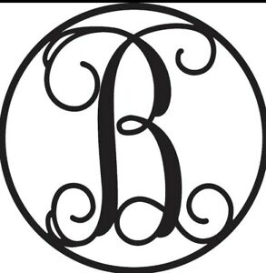 "Circle Letter Family Monogram Metal Sign 20"" (Choose Your Letter)"