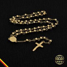 ROSENKRANZ HALSKETTE EDELSTAHL UNISEX Perlenkette Gold FARBEN RELIGIÖS Jesus NEU