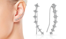 Silver Crystal Climber Earrings with Crystals from Swarovski® in Gift Pouch