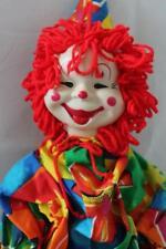 """Vtg HANDMADE Stuffed CLOWN Doll/Plush/Toy Plastic Molded Face 22"""" (Z4)"""