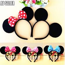 MICKEY MINNIE MOUSE EARS HEADBAND COSTUME Bow Fancy Dress Unisex Party