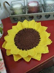 Vintage doilie sunflower coaster