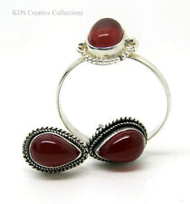 Antique Style 925 Sterling Silver, Teardrop Carnelian Stud Earrings , Free Ring