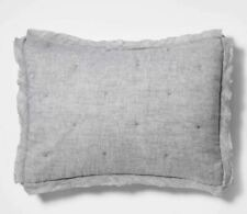 THRESHOLD Linen Blend Tufted Pillow Sham,  NEW, Standard, Gray