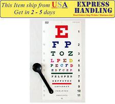 Traditional Snellen & Kindergarten Color Eye Test Chart with Occluder (Set of 3)