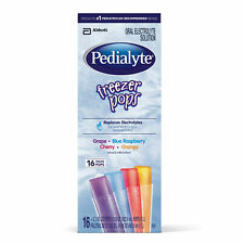 Pedialyte Electrolyte Solution Freezer Pops, 2.1 oz (16 Pack)