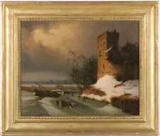 """Leopold Till (1830-1893) """"Winter scene with ice-skaters"""", oil painting, ca 1850"""