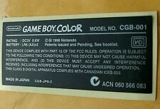 Game Boy COLOR Model Replacement Label Sticker for Nintendo GBC Console usa ship