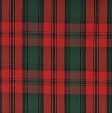 Christmas Tartan Plaid 04 Poly cotton Light Wt Fabric BY THE YARD Red Green