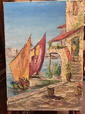 Vintage tableau signé Passiro peinture HST 50's cote d'Azur Saint tropez mer