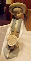 Porcelain ZAPHIN Figurine, Boy w Hat & Carrying a Basket - Made in Spain Lladro