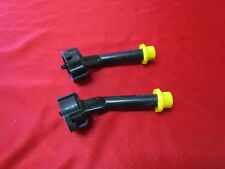 TWO BLITZ GAS CAN SPOUT SELF VENTING YELLOW CAP NOZZLE