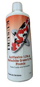 Kusuri Acriflavin Malachite Premix, Pond Trichodina, Costia Treatment, 1 Litre
