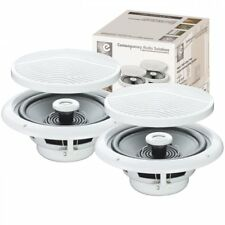 UKDJ Pair Of E-audio 80w Round Ceiling Speakers 2 Way Moisture Resistant 4 Ohms