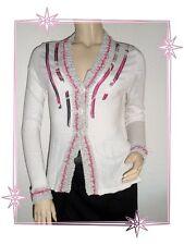 Magnifique Gilet Cardigan Blanc Gris Rose Lewinger Taille 0 - 34 / 36