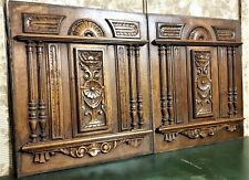 Pair rosette scroll leaf wood carving panel Antique french architectural salvage