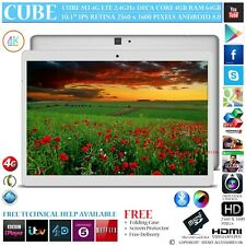 "CUBE M5 4G LTE 4GB RAM DECA CORE GPS 64GB 10.1"" RETINA ANDROID 8 PHONE TABLET PC"