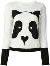 Alice + Olivia Panda Rhinestone Sweater White Black Wool Knit Top Size M