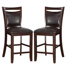 Set of 2 Elegant Counter Height High Chairs Espresso PU Leather Seating & Back