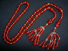 Wonderful VTG Miriam Haskell Red Poured Art Glass Bead Sautoir Lariat Necklace