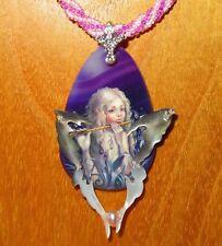 Fairy Butterfly Girl pendant Handmade STONE SHELL wings beaded necklace Shenshin