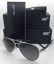 New MONTBLANC Sunglasses MB 645S 16B 59-14 140 Silver & Black Aviator w/ Grey