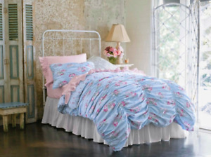 SIMPLY SHABBY CHIC Blue & Pink Cabbage Rose Ruched Duvet- Twin Size