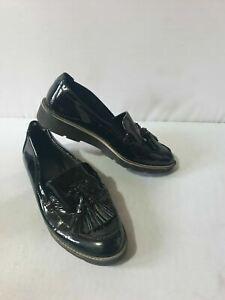 Ex M&S Women's Wide Fit Leather Flatform Tassel Black UK 3.5 RRP £49.50 #6716W