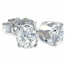 1/3 Carat Diamond Stud Earrings 14K White Gold VS2 G/H Non Enhanced Genuine