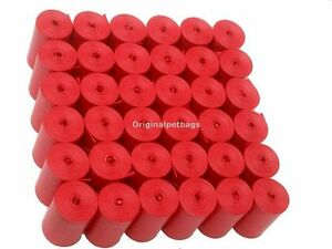 800 DOG PET WASTE POOP BAGS RED CORELESS WITH FREE RED DISPENSER