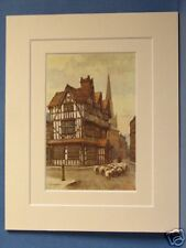 HIGH TOWN BLACK AND WHITE HOUSE HEREFORD VINTAGE DOUBLE MOUNTED HASLEHUST PRINT