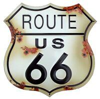 Letrero Desgastado Route 66 Signo Disparo Metal