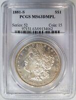 1881 S Silver Morgan Dollar PCGS MS 63 DMPL Deep Mirrors Proof Like PL DPL Coin