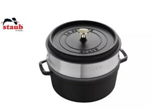 Staub Cocotte Pot Roaster Cast Iron Round 26 CM With Steamer Black RRP £269